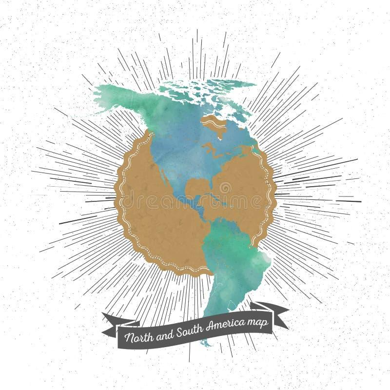 Het noorden en de kaart van Zuid-Amerika met uitstekende stijl vector illustratie