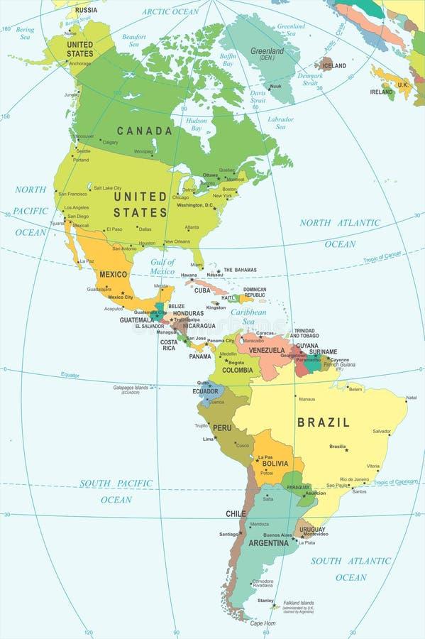 Het noorden en Zuid-Amerika - kaart - illustratie stock illustratie