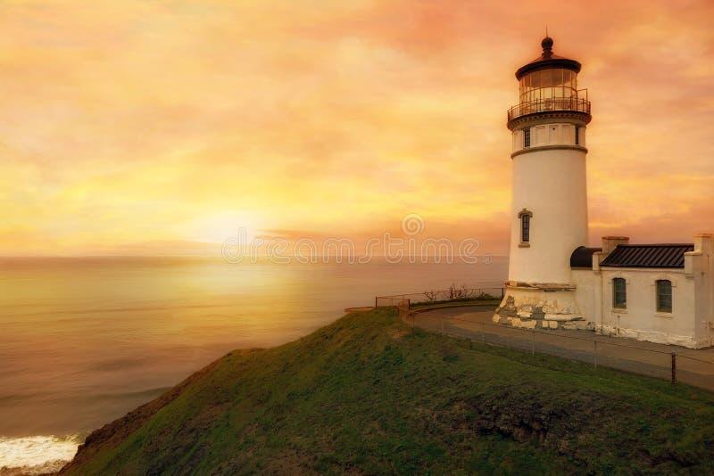 Het noorden Hoofdvuurtoren bij Zonsondergang in de staat van Washington stock foto's