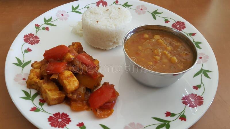 Het noorden Indisch voedsel in een plaat stock afbeelding
