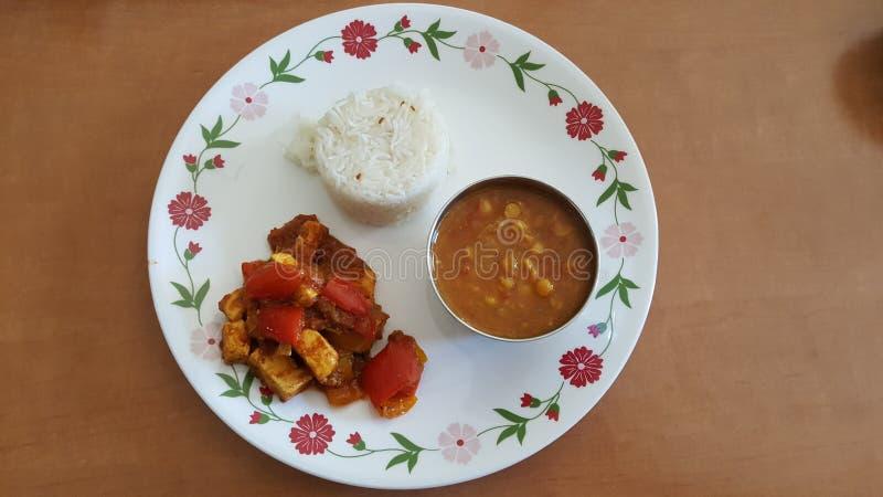 Het noorden Indisch voedsel in een plaat stock fotografie