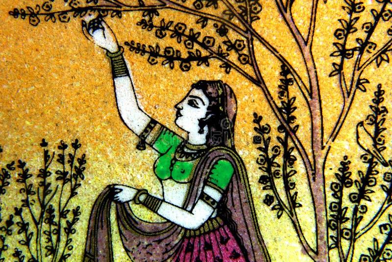 Het noorden het Indische steen schilderen royalty-vrije stock afbeelding