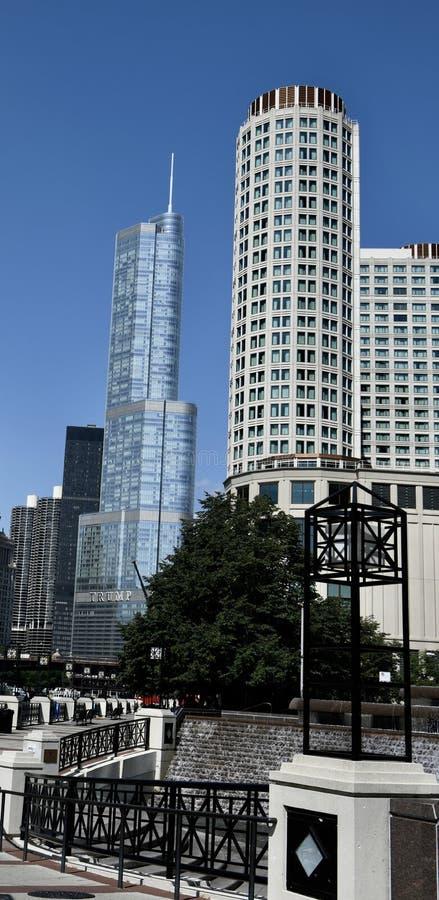Het noordenbank van de Rivier van Chicago royalty-vrije stock foto's