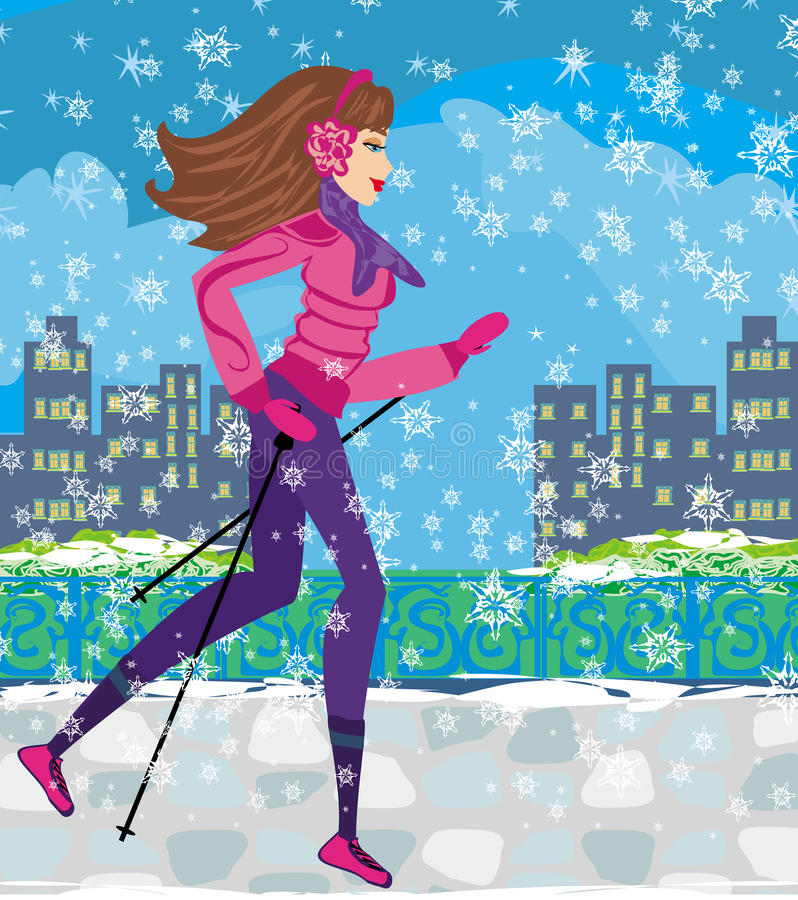 Het noordse lopen - actieve vrouw die in de winter uitoefenen stock illustratie