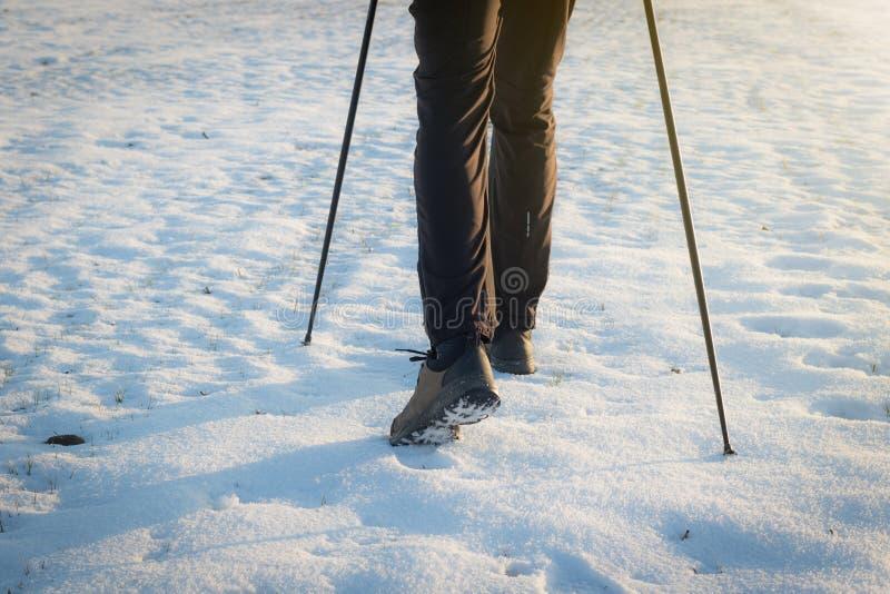 Het noordse lopen - benen van de niet geïdentificeerde mens die met stokken wandelen royalty-vrije stock afbeelding