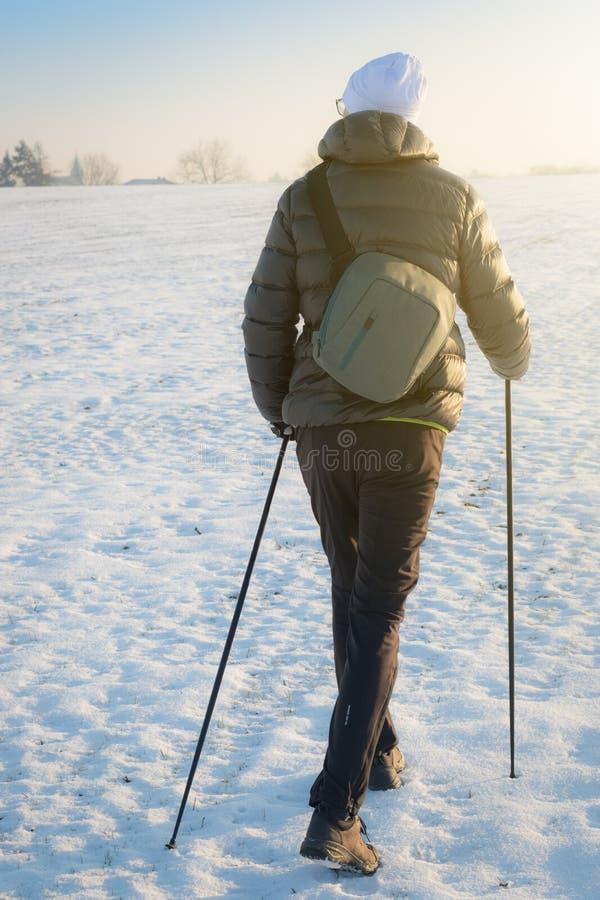 Het noordse lopen - benen van de niet geïdentificeerde mens die met stokken wandelen stock foto