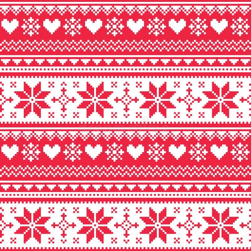 Het noordse naadloze gebreide patroon van het Kerstmis rode hart vector illustratie