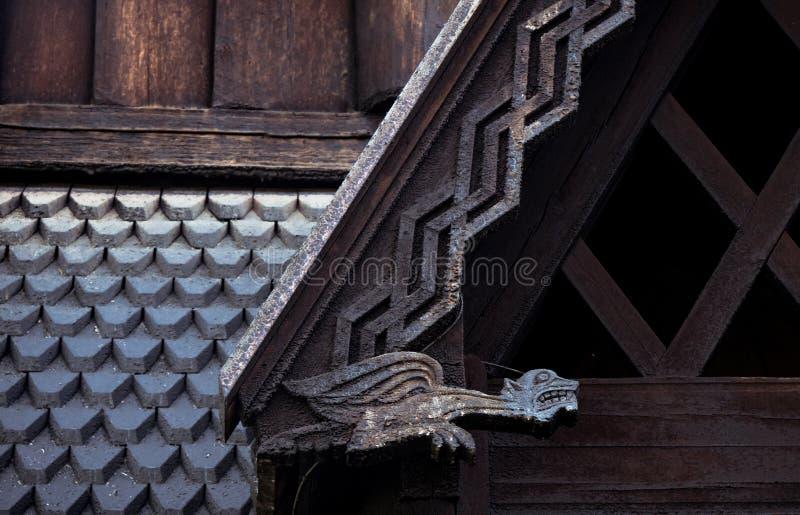 Het het Noorse detail en ontwerp van de staafkerk royalty-vrije stock foto