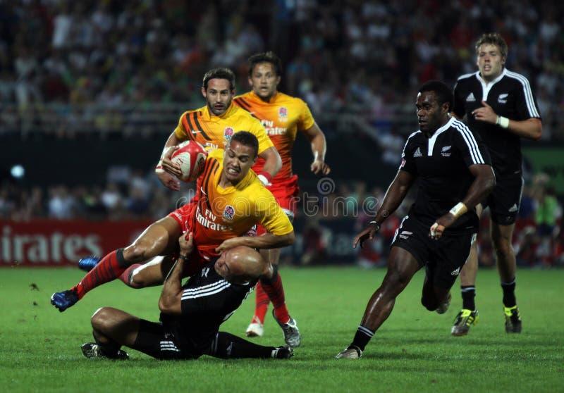 Het noteren van een poging bij het Rugby Sevens van Doubai stock afbeelding