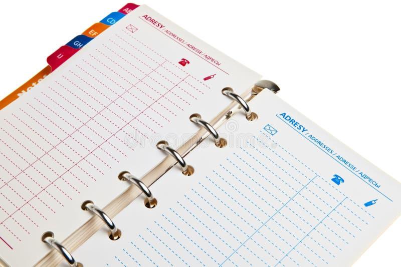 Het notitieboekje van de ring, adresboekje. royalty-vrije stock afbeelding