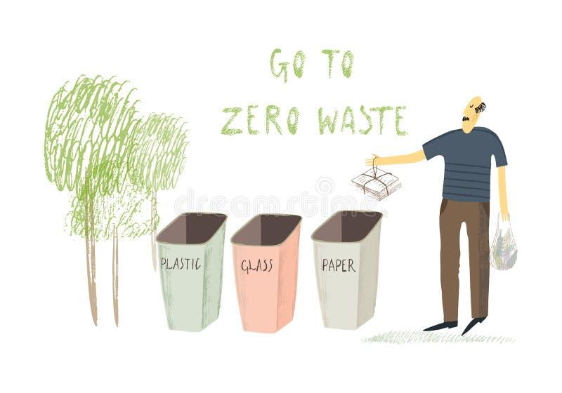 Het nul afvalleven De Stijl van Eco geen plastiek ga groen Gestileerde mens Hand getrokken vectorillustratie stock illustratie
