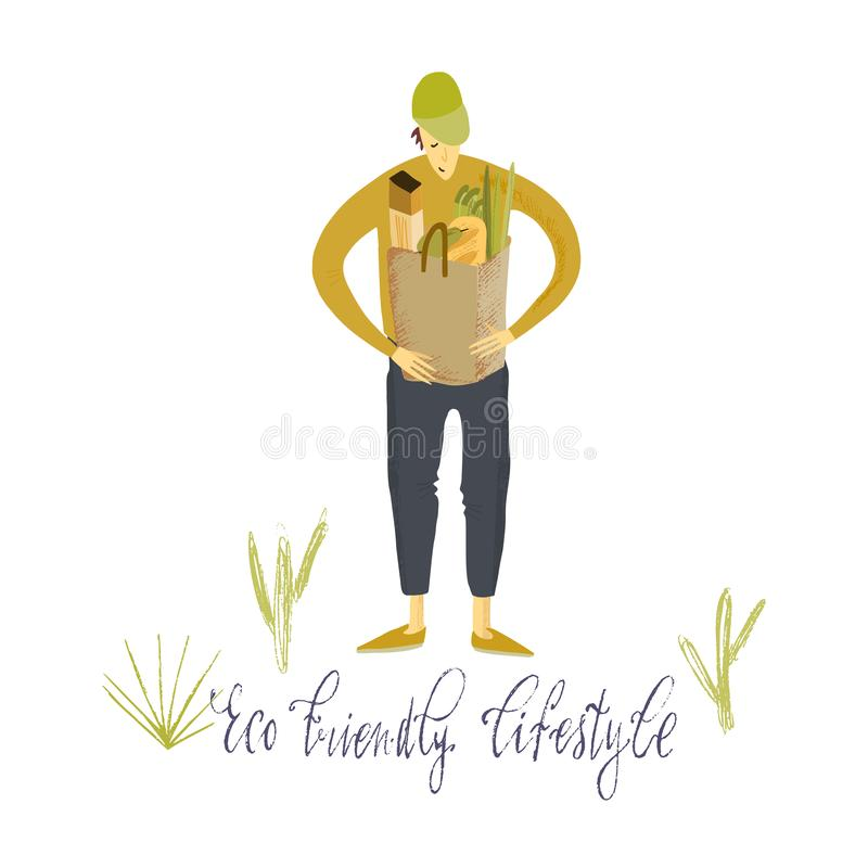Het nul afvalleven De Stijl van Eco geen plastiek ga groen Kerel met ecozak Hand getrokken vectorillustratie royalty-vrije illustratie