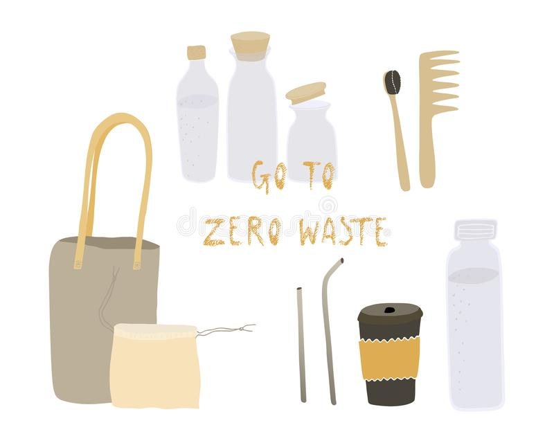 Het nul afvalleven De Stijl van Eco geen plastiek ga groen Opnieuw te gebruiken dingen Vector geplaatste Voorwerpen Hand getrokke stock illustratie