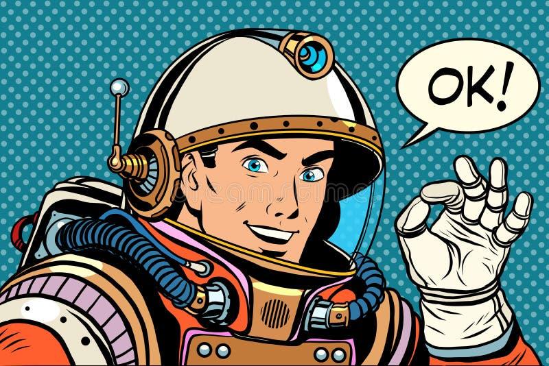 Het O.K. o.k. gebaar van de astronautenmens goed stock illustratie