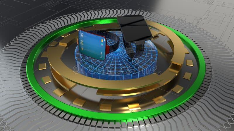 Het objecten platform, intelligente klok, het 3d teruggeven stock illustratie
