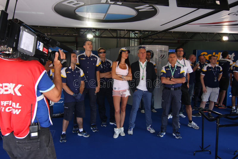 Het officiële rennende team WSBK van BMW s1000-rr stock afbeelding