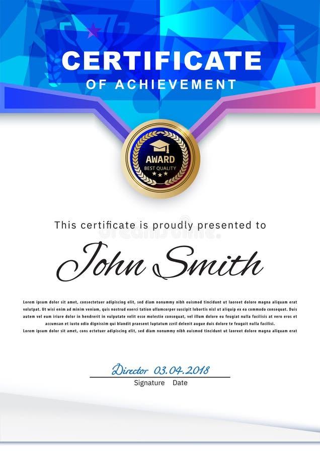 Het officiële witte certificaat met blauwe driehoeken en het onderwijs ontwerpen elementen, graduatioin GLB, kop Schoon modern on vector illustratie