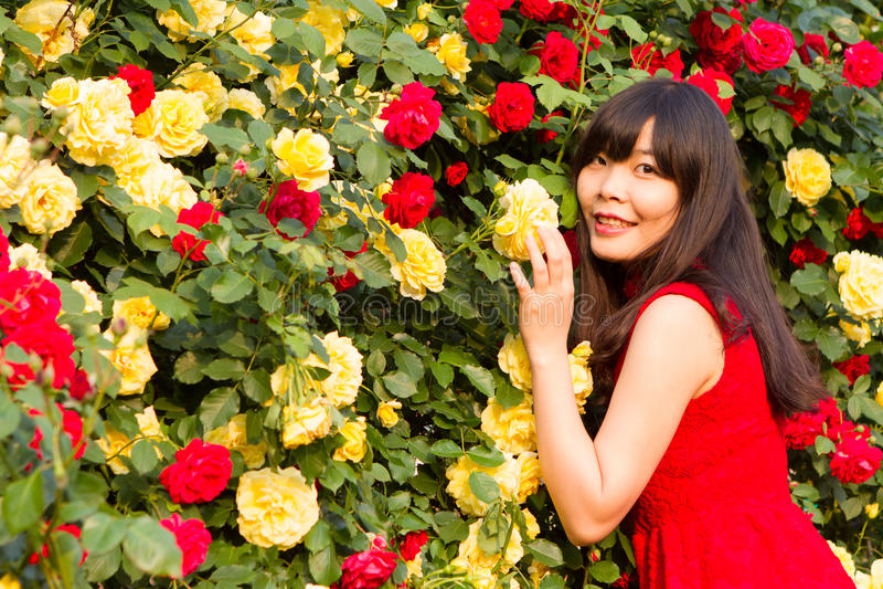 Het ogenblik in de roze tuin royalty-vrije stock foto