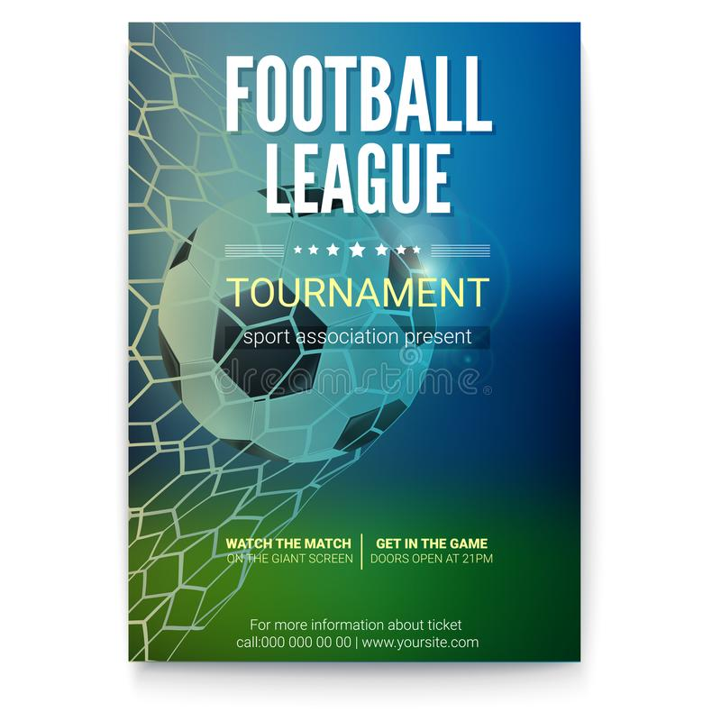 Het ogenblik van het de gelijkedoel van het voetbalspel met bal in netto, netwerk Spelbal op tijd van doel Affiche voor voetbal o stock illustratie