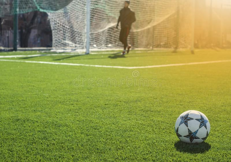 Het ogenblik van het voetbalspel op professioneel stadion royalty-vrije stock fotografie