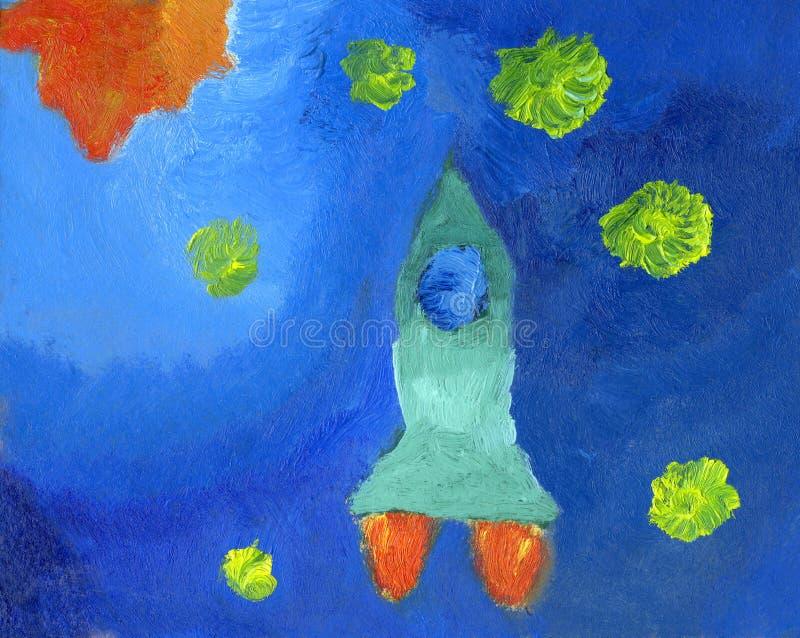 Het olieverfschilderij van het jonge geitje van ruimteraket en sterren royalty-vrije illustratie