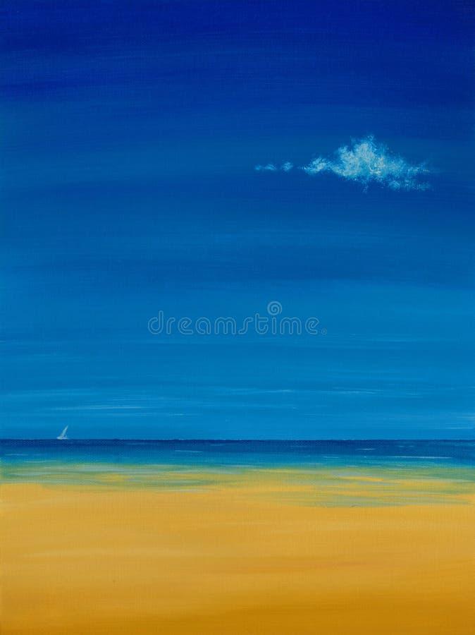 Het Olieverfschilderij van het strand stock fotografie