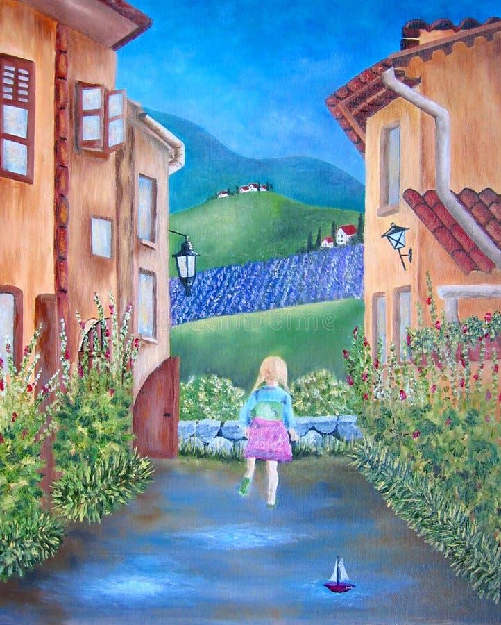Het olieverfschilderij van Italië en van het meisje vector illustratie