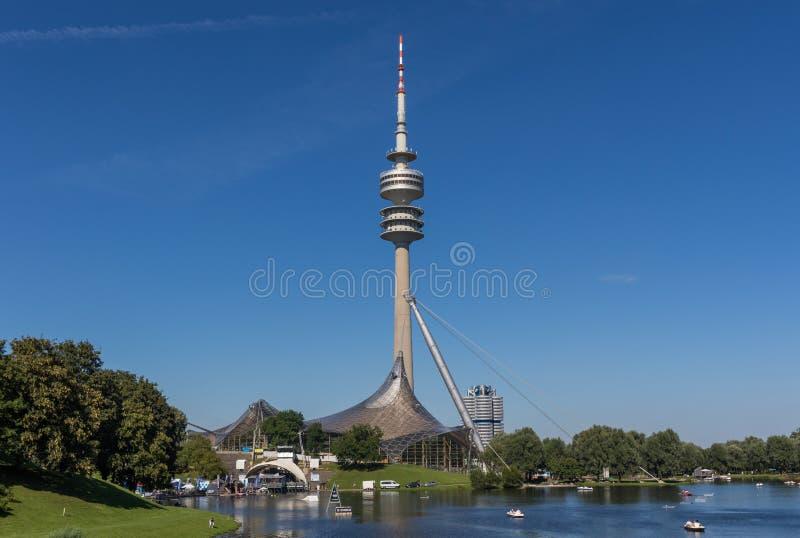 Het Olympiapark-gebied, München duitsland stock afbeeldingen