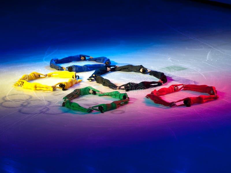 Het Olympische Feest van kunstschaatsen, de Olympische Ringen stock afbeelding