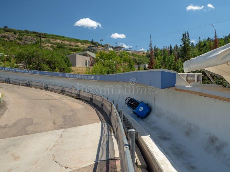 Het Olympische Park van Salt Lake/van de Parkstad, Utah, Verenigde Staten: [skisprongen en bob in het Olympische parkmuseum stock afbeeldingen