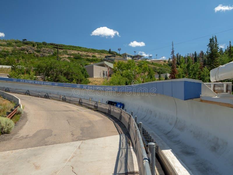 Het Olympische Park van Salt Lake/van de Parkstad, Utah, Verenigde Staten: [skisprongen en bob in het Olympische parkmuseum stock foto