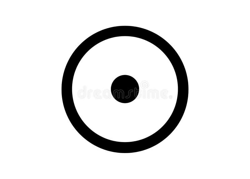 Het omcirkelde punt alchemistische symbool voor de zon Oud symbool die de Zon en de diverse zongoden vertegenwoordigen Zonnestels stock illustratie