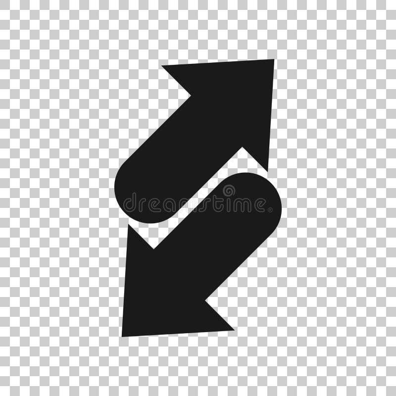 Het omgekeerde pictogram van het pijlteken in transparante stijl Verfris vectorillustratie op ge?soleerde achtergrond Herladen be vector illustratie