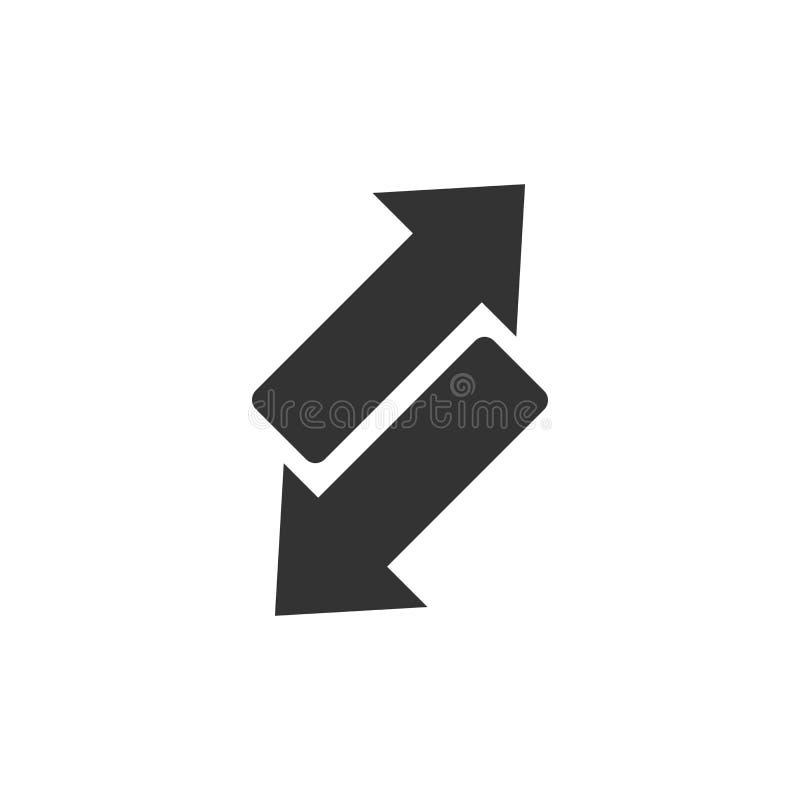 Het omgekeerde pictogram van het pijlteken in vlakke stijl Verfris vectorillustratie op wit geïsoleerde achtergrond Herladen bedr stock illustratie