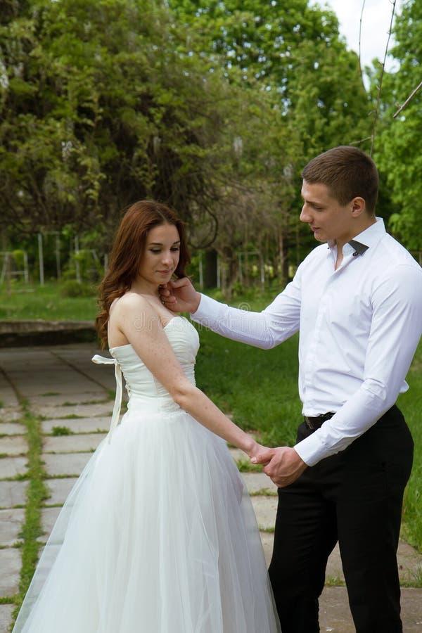 Het omhelzen van huwelijkspaar royalty-vrije stock afbeelding