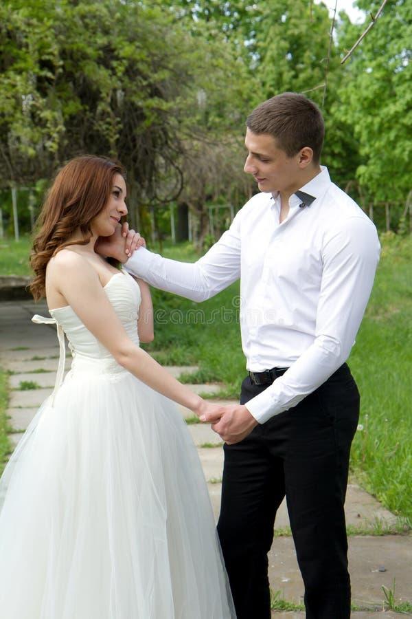 Het omhelzen van huwelijkspaar stock afbeeldingen