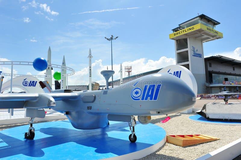 Het onbemande luchtvoertuig van IAI (UAV) op vertoning in Singapore Airshow 2012 stock afbeelding