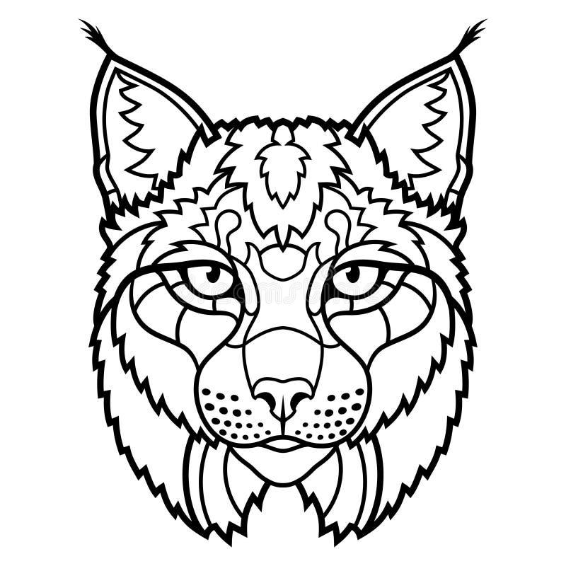 Het onbetrouwbare art. van de de schetslijn van de lynxmascotte hoofd geïsoleerde stock illustratie