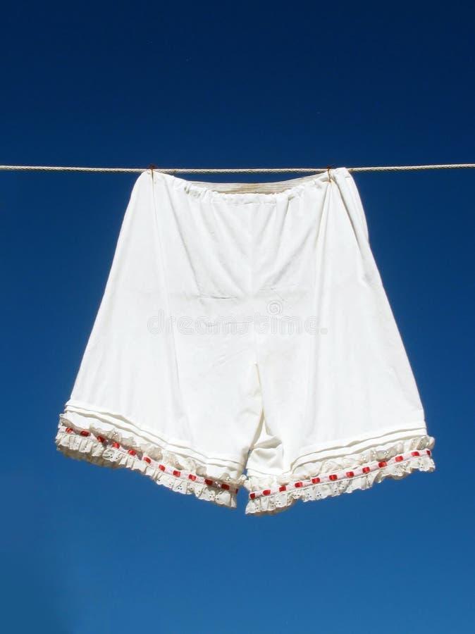 Het ondergoed van uitstekende vrouwen het hangen op een drooglijn royalty-vrije stock afbeelding