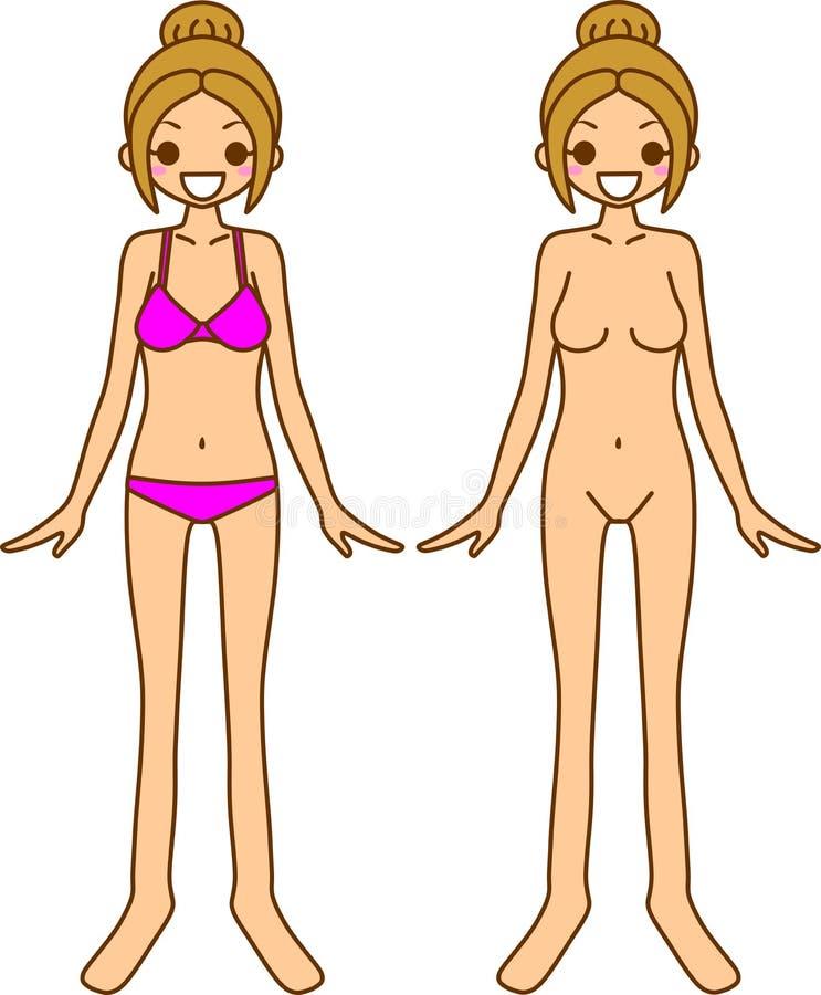 Het ondergoed van vrouwen en naakt stock illustratie