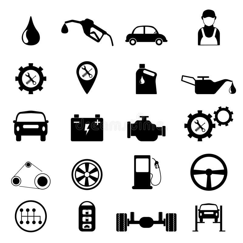 Het onderhoud van de autodienst of het controleren van pictogramreeks Vector Illustratio vector illustratie