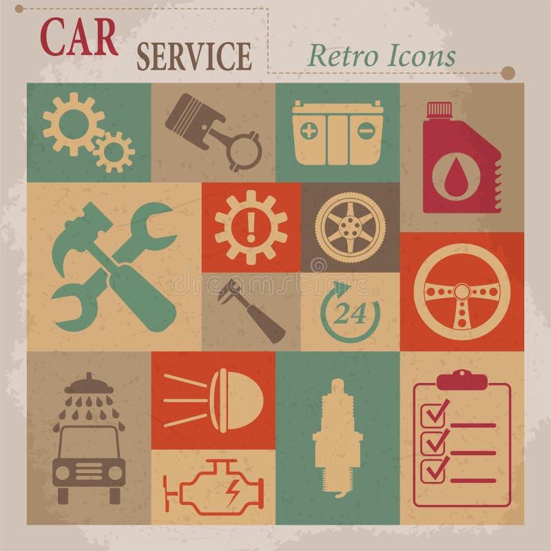 Het onderhouds vector vlakke retro pictogrammen van de autodienst. stock illustratie