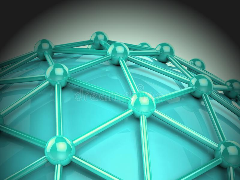Het onderling verbonden de Technologieverbinding van de Bolwereld 3d Teruggeven royalty-vrije illustratie