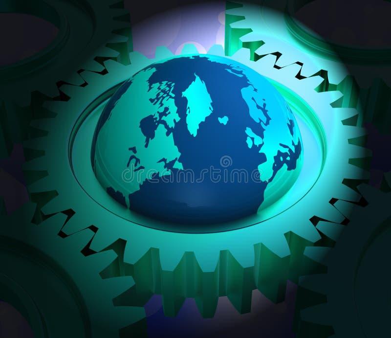 Het onderling verbonden de Technologieverbinding van de Bolwereld 3d Teruggeven stock illustratie