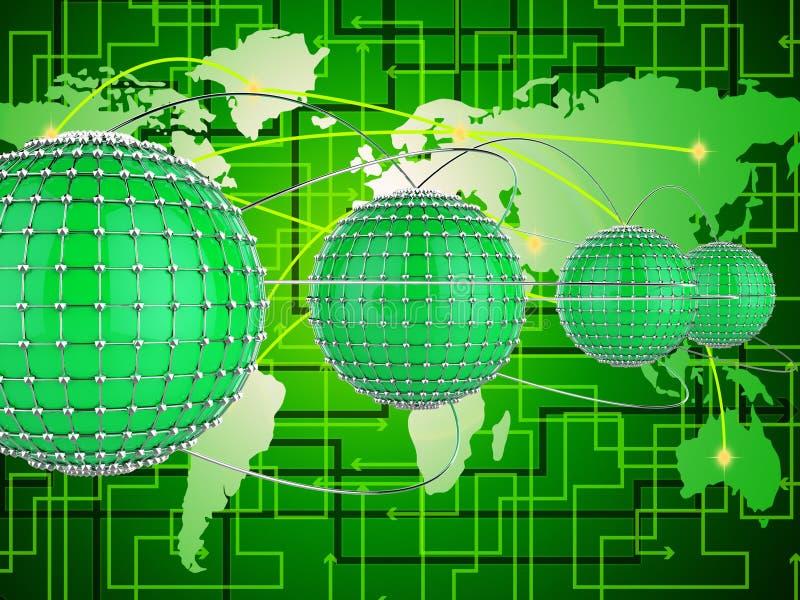 Het onderling verbonden Netwerk vertegenwoordigt Netwerkenbol en Wereld royalty-vrije illustratie