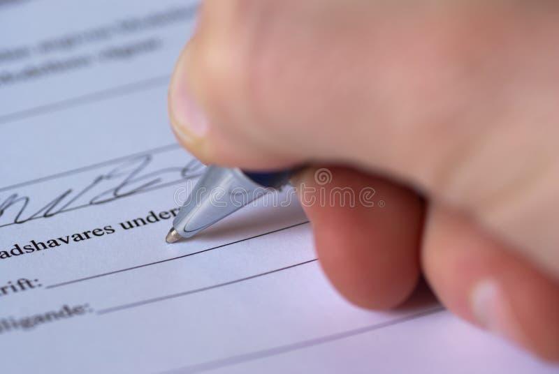 Het ondertekenen stock afbeeldingen