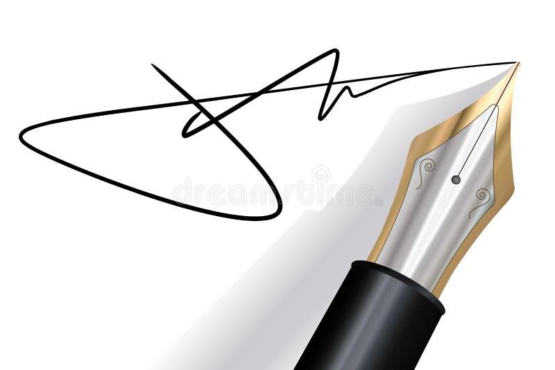 Het ondertekenen met een vulpen royalty-vrije illustratie