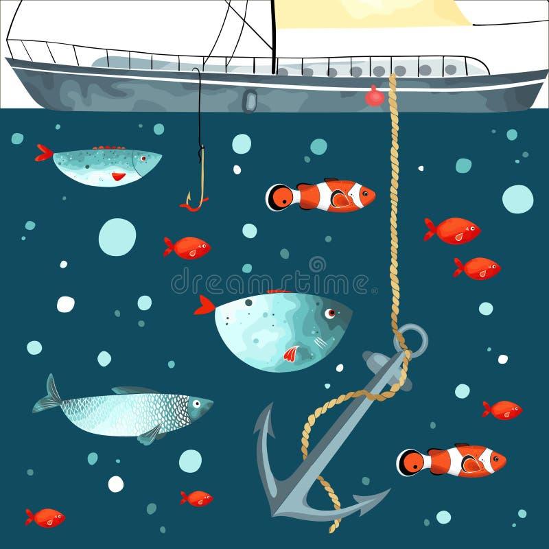 Het onderwater leven Grappig vissen, anker en deel van schip vector illustratie