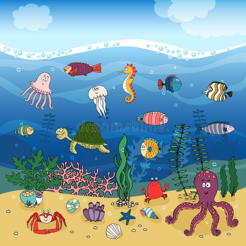 Het onderwater oceaanleven onder de golven royalty-vrije illustratie