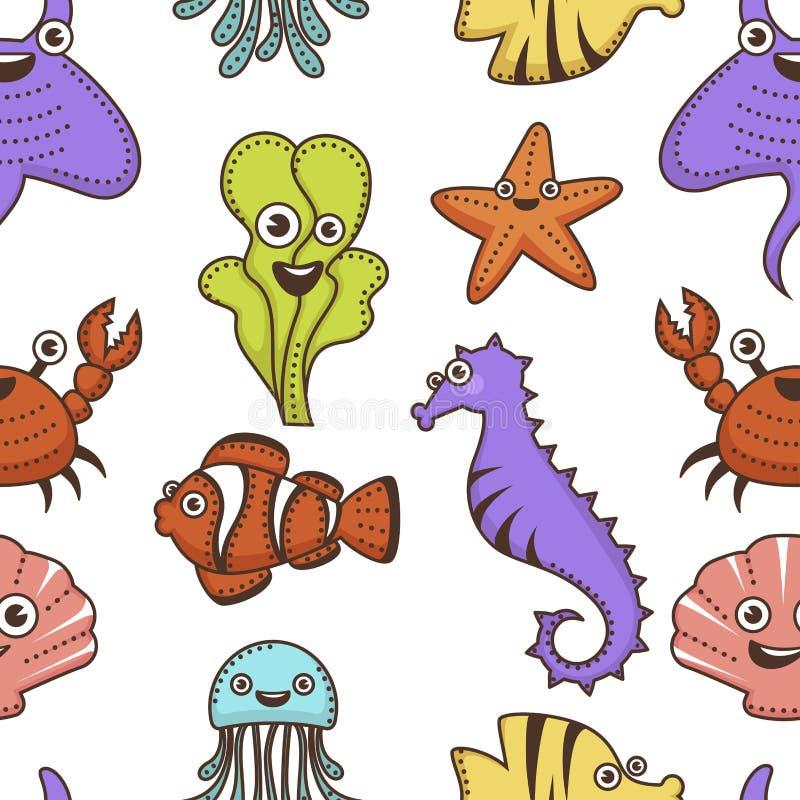 Het onderwaterdieren en planten naadloze patroon van beeldverhaalkarakters stock illustratie